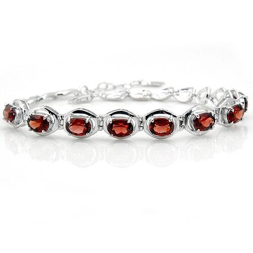 Bracelet grenat naturel Tennis 925 en argent Sterling femme Fine élégante rouge gemme bijoux fille pierre de naissance saint-valentin cadeau sb0004g