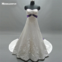 2017 Mermaid Sweetheart Beads Purple Ribbon Lace-up Back Long Train Wedding Dresses New Wedding Gown