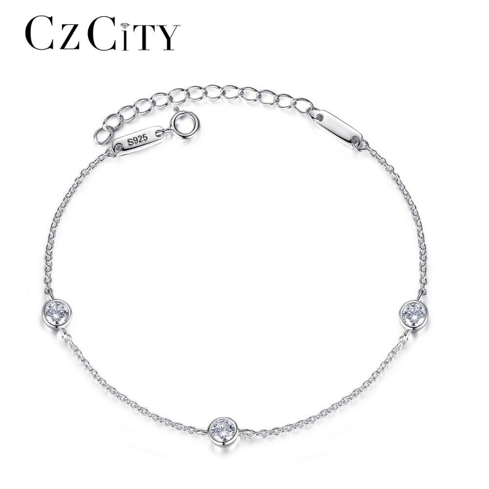 CZCITY Charm Women Chain Link Sterling Silver Bracelet for Women Simple Classic Cubic Zirconia Female Bracelets Fine Jewelry