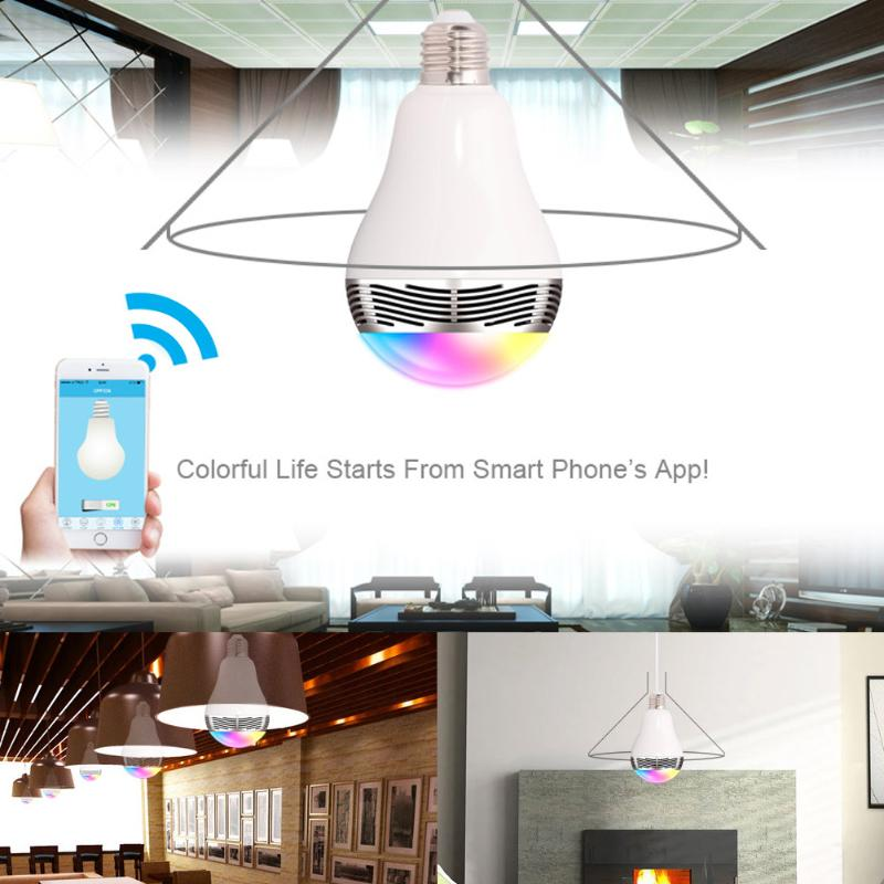 BL05 3W LED RGB Color Bulb Light E27 Bluetooth Control Music Audio Speaker Lamps Smart Intelligent Lamp Remote Control Light smuxi e27 led rgb wireless bluetooth speaker music smart light bulb 15w playing lamp remote control decor for ios android