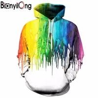 BIANYILONG New Splash Paint Hoodies Men Women Hooded Hoodies With Cap 3d Sweatshirt Print Paint Hoody