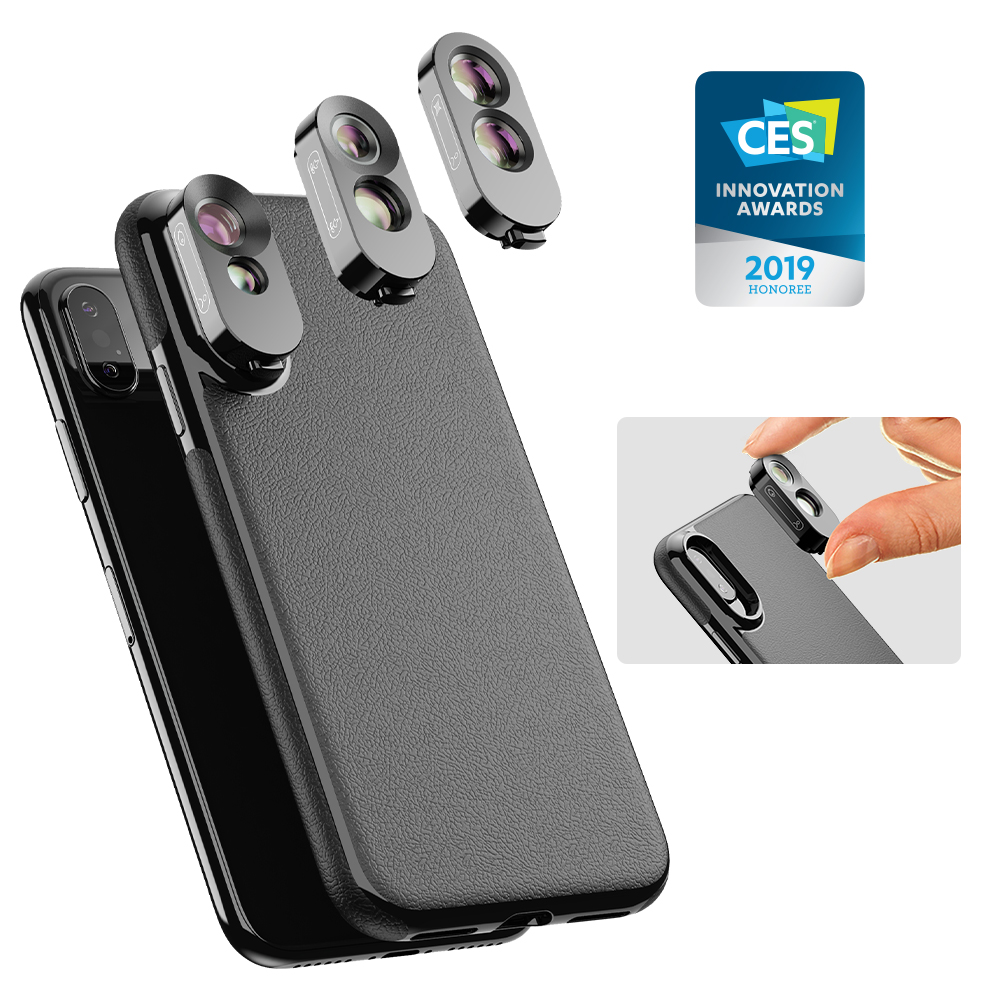 3 in 1 PU Leather Phone Case For Camera Lens Kit Dual Macro Phone Wide Angle Telephoto Fisheye Lenses For iPhone X,XS,XS Max