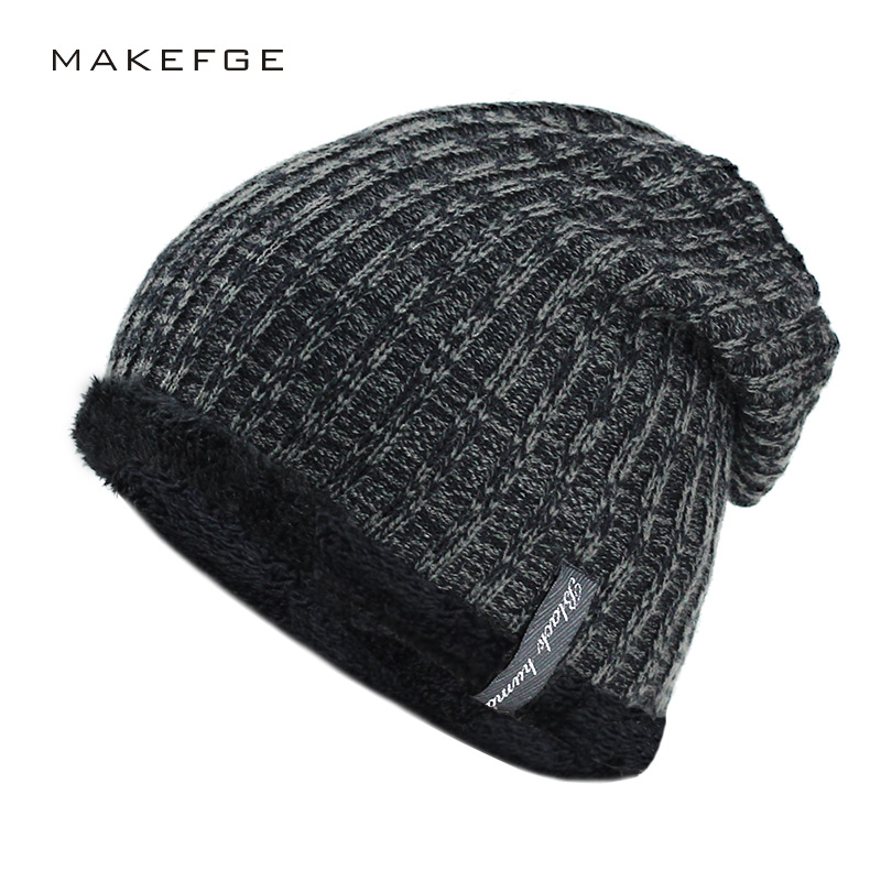 2018 NEW Warm Fashion Winter Hat For Man Knitting Hat Cap Men   Beanie   Hat Cap   Skullies     Beanies   Elastic toucas Drop Shipping