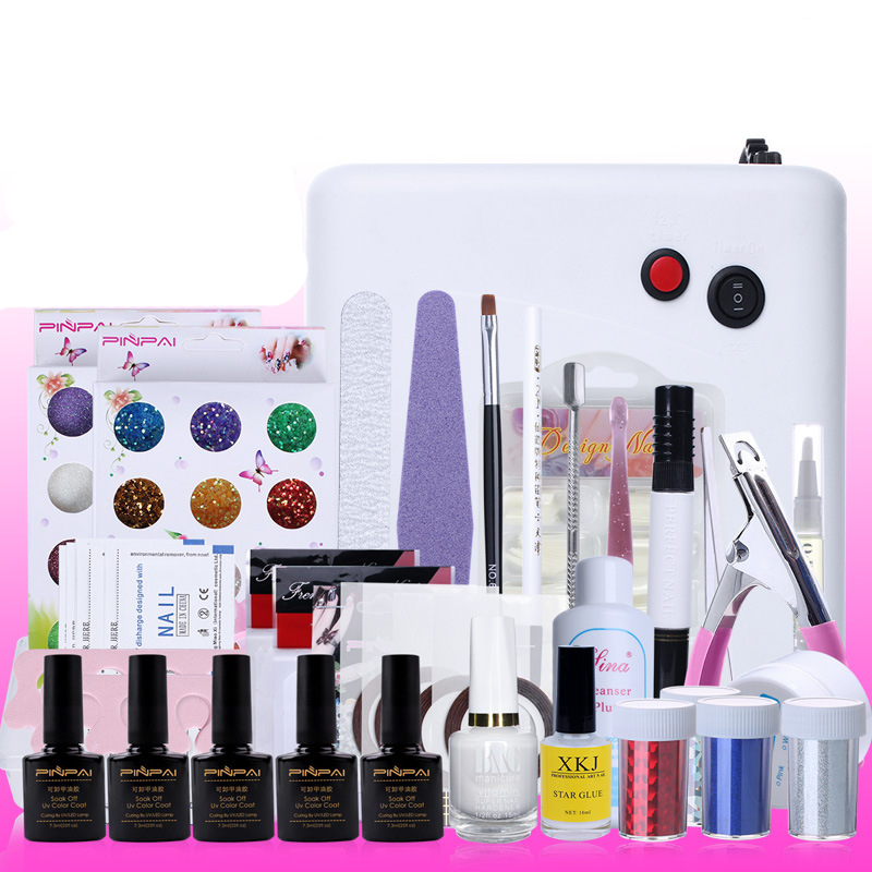 Nail Art Manicure Tools Set  UV Lamp + 10  bottle soak off  Gel nail base gel top coat polish Nail Art Manicure Sets nail art tools manicure sets 18w uv lamp nail dryer 6 colors soak off gel nail polish top gel base coat nail kits
