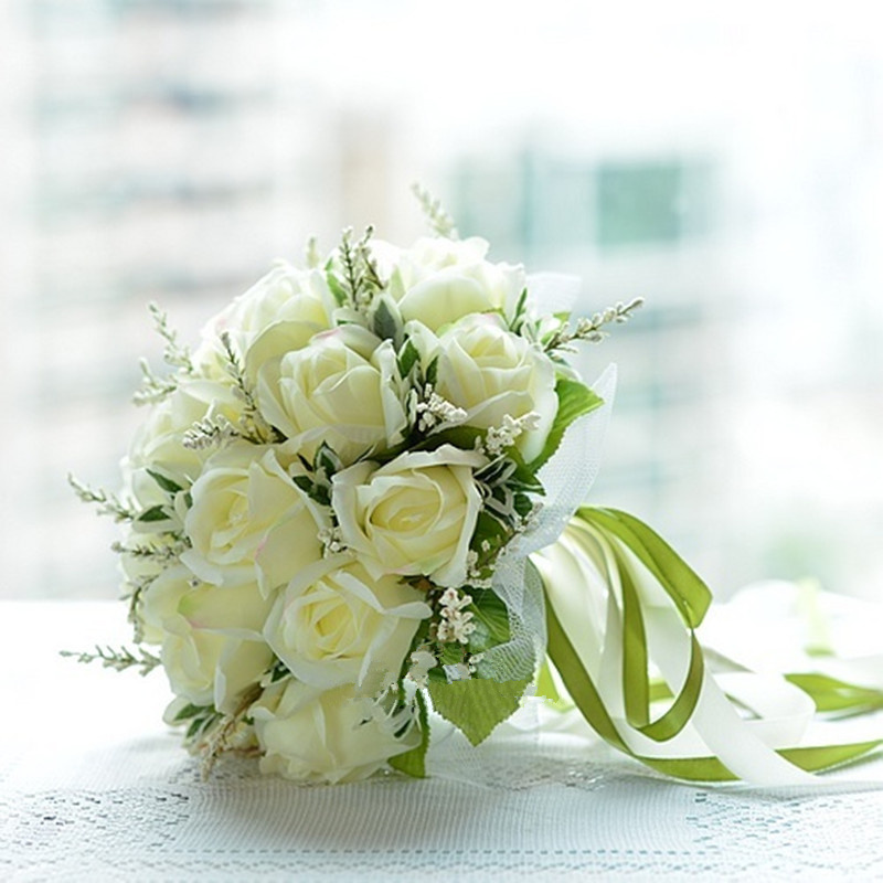 Korea Bridal Bouquets White Roses Bunch Satin Ribbon Lace