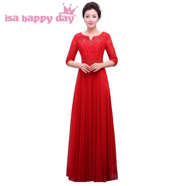 Formal Sleeved Bride Maid Red Bridesmaid Dresses Chiffon Bridesmaides Floor Length Dress Elegant A-line For Weddings 2019 H3759