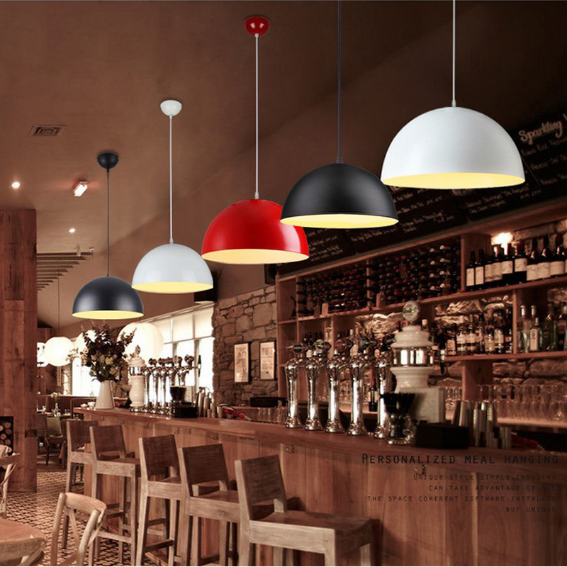 Restaurant pendant lamp chafing dish shop modern led pendant lights single head creative personality semicircle led hanging lamp