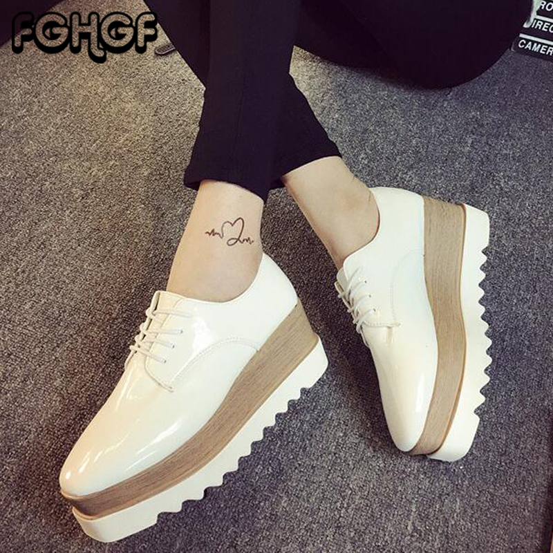 Autumn Flat Platform Shoes Woman Patent Leather Lace Up Round Toe Thick bottom shoes Ladies Casual Oxfords Female Creeper Y57 fanyuan new spring autumn thick high heeled pumps woman round toe lace up shoes female platform shoes casual office lady