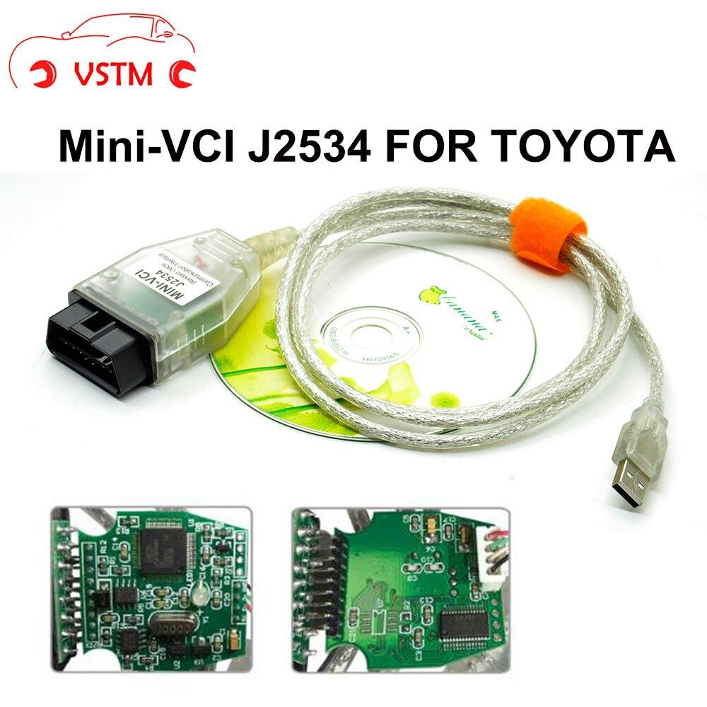 Vstm mini relação vci para TOY-OT-A mais recente v13.00.022 tis techstream MINI-VCI ft232rl chip j2534 obd2 cabo de diagnóstico