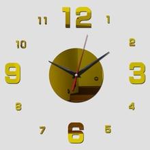 Digital DIY wall clocks 3d mirror stickers quartz needle