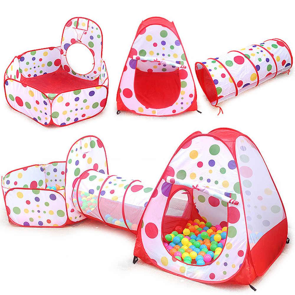 Multi-Cor Piscina Bola Inflável Brinquedos Para Crianças Tenda Casa de Jogo Tenda Bebê Engatinhando Túnel 3 em 1 Dobrável jogos ao ar livre Tenda