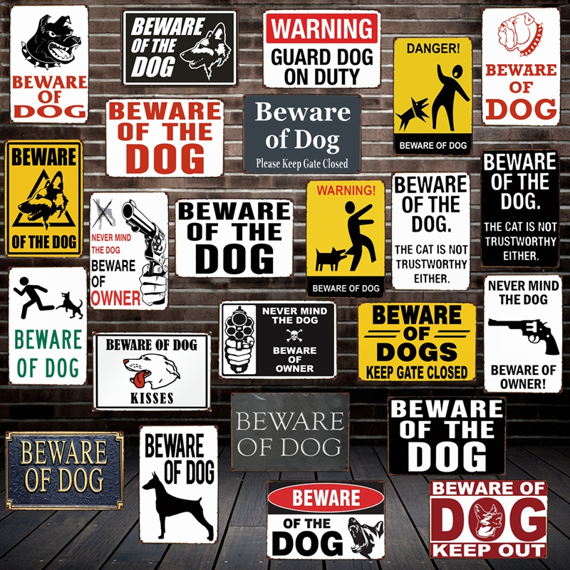 [ Mike86 ] Beware of the DOG GUARD ON DUTY WARNING DANGER Metal Tin Sign Wall Plaque Poster Painting Christmas Decor Art FG-519 image