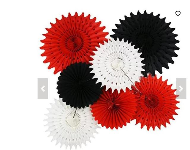 Red Black And White Party Decor 7pcs Tissue Paper Fans For Minnie