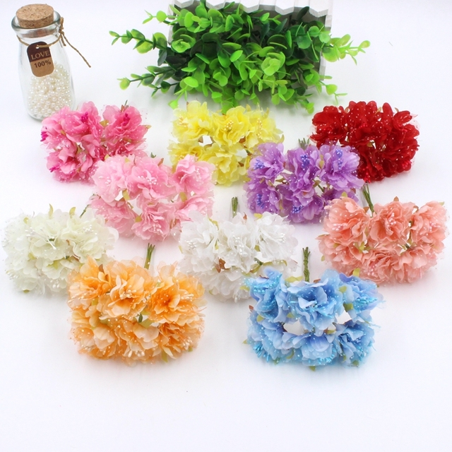 Hot sale 6 pcs/bunch Forest style Cherry blossom Artificial Flowers ...