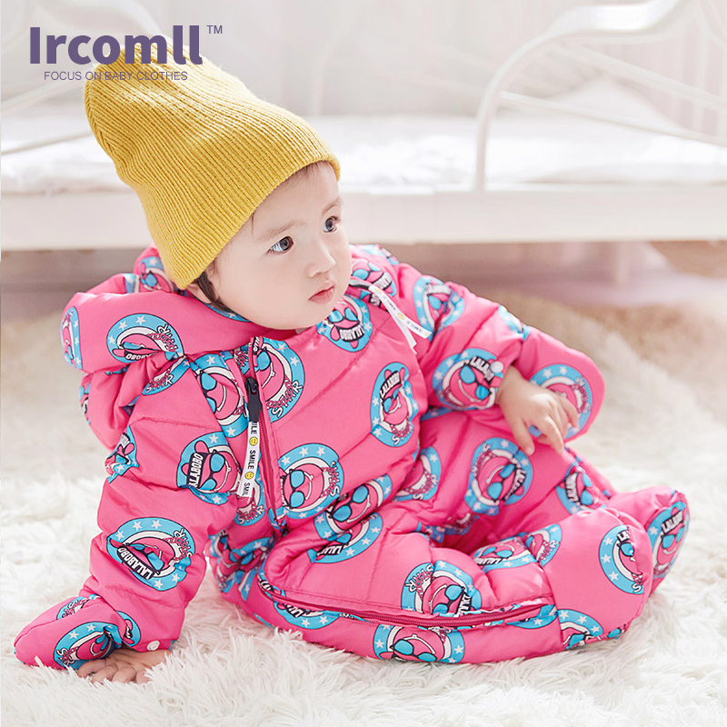 Ircomll Newborn Winter Rompers Hooded Thicken Fleece Lining Duck Down Jumpsuit Kids Boy Girl Clothing Baby Clothing Snow Wear siyubebe winter baby rompers fashion brand cotton fleece ropa bebe infant girl jumpsuit kids clothing newborn baby boy clothing