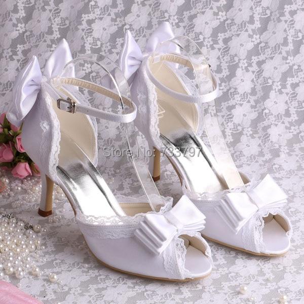 (20 Colors)Bride Sandals Satin Wedding Shoes Ladies Heels with Bowtie Shoes Pumps White