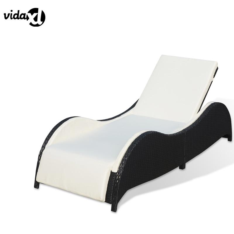 vidaXL Outdoor PE Rattan Lounger Adjustable Transat Comfortable Elegant Liner Outdoor Furniture Durable Lounger Washable Cushion