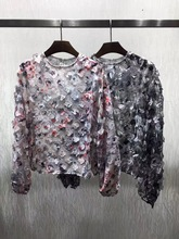 Blusas Real Polyester Full Blouse Tops 2017 New Women's Shirt Printing And Dyeing Three-dimensional Flower Decals Long-sleeved
