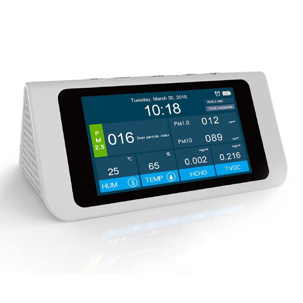 Moniteur professionnel de qualité de l'air PM2.5 détecteur PM1.0 PM10 HCHO covt AQI testeur LCD thermomètre hygromètre calendrier réveil - 4