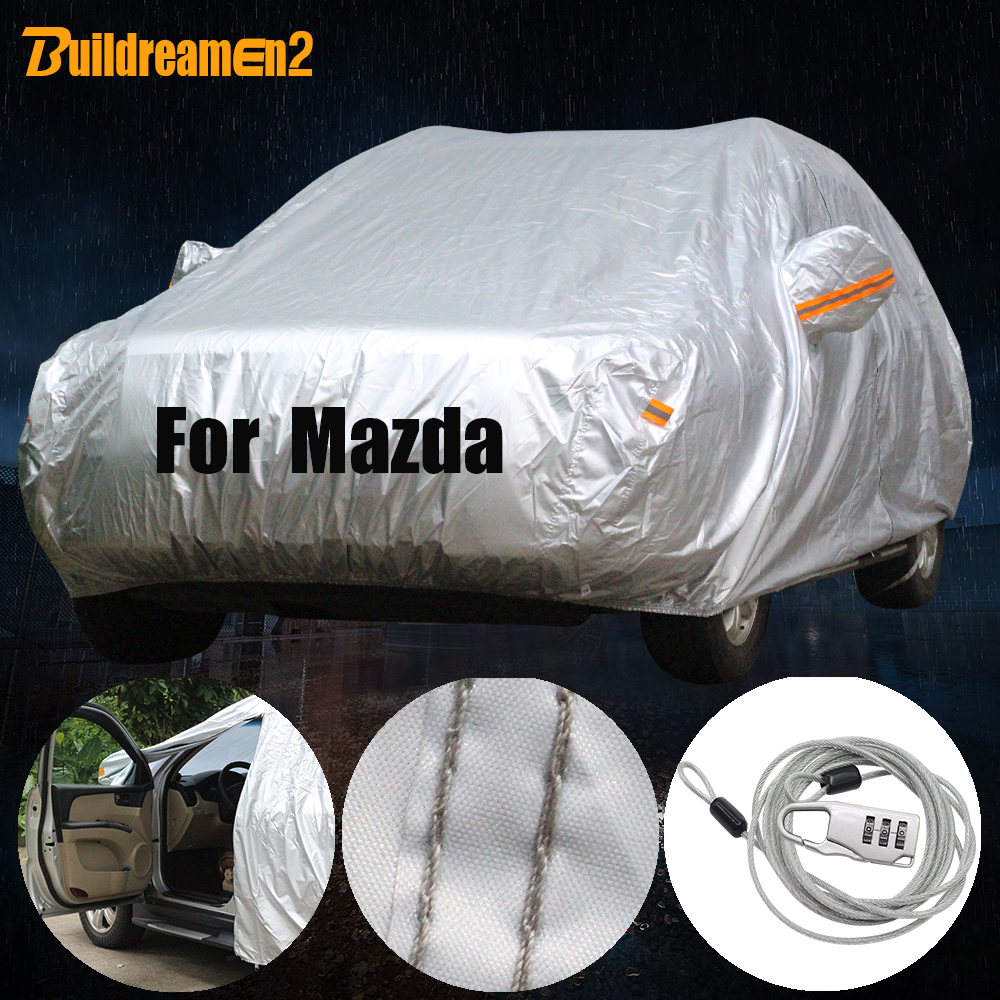Buildreamen2 Full Car Cover Waterproof Outdoor Sun Snow Rain Protection Cover Dust Proof For Mazda 2 3 6 323 929 Atenza Millenia buildreamen2 waterproof car covers sun snow rain hail scratch dust protection cover for mercedes benz gle 350 400 450 300 320