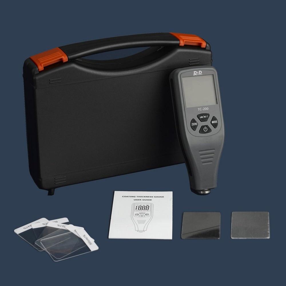 TC200 Digital Thickness Gauge Coating Meter Portable Thickness Meter Thickness Tester Measuring Range 0~1300um Backlight