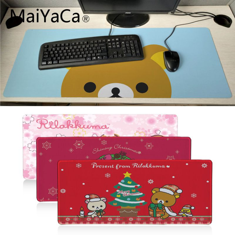 Maiyaca My Favorite Cute Rilakkuma Christmas Anti-Slip Durable Rubber Computermats Large Lockedge Gaming Mouse Pad Computer Mat