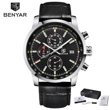 цена на BENYAR Fashion Casual Men's Watches Top Brand Luxury Leather Business Quartz Watch Men Wristwatch Male Clock Relogio Masculino