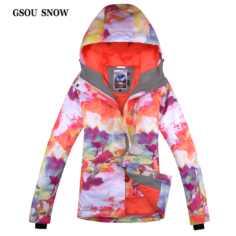 купить GSOU SNOW famale European and American style 2017 waterproof outdoor ski jacket double board single board super waem ski suit онлайн