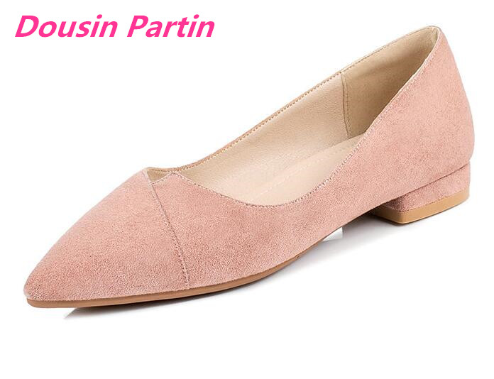Dousin Partin 2019 Woman Flats Square Low Heel Flock Pointed Toe Simple Comfortable Shallow Basic Single