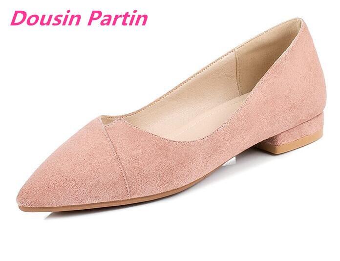 Dousin partido 2019 mujer pisos cuadrados de tacón bajo bandada punta puntiaguda Simple cómodo zapatos básicos bajos-in Zapatos de tacón de mujer from zapatos    1
