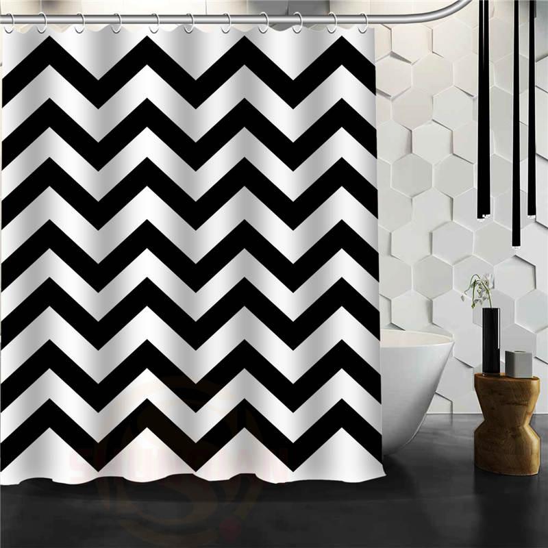 Custom Classic Black And White Chevron Bathroom Waterproof Shower Curtain  Durable Classic Bathroom Decorative Best Gift