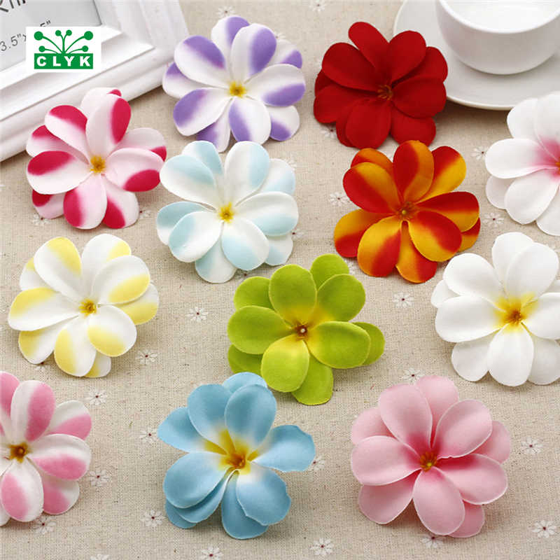 7CM Artificial Hawaiian Plumeria Frangipani Silk Flowers Heads for IDY hair clip Wreath Scrapbook wedding decoration 5 Pieces