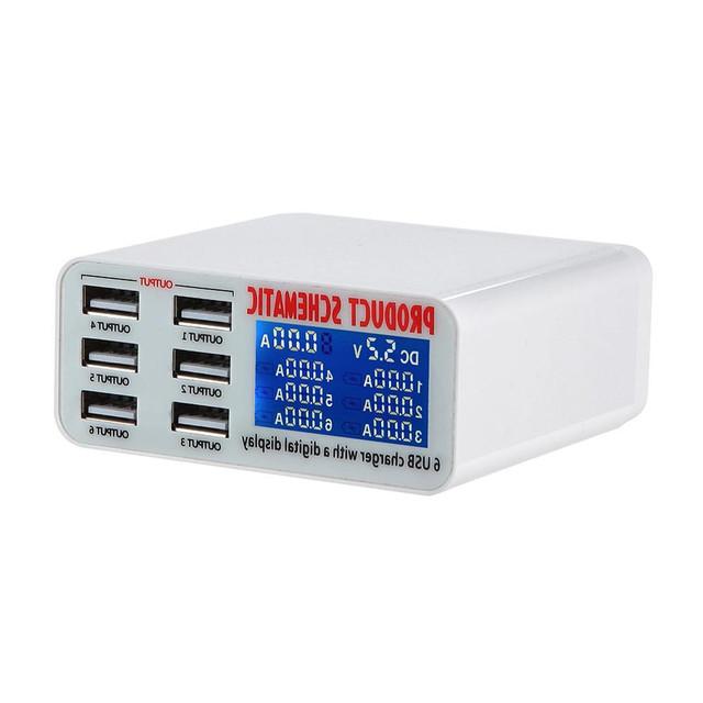 Alta Qualidade Branco 6 Portas Estação de Carregamento do Carregador Rápido Com Display Digital Inteligente para Smart Telefone/Tablet/PC/Câmera Digital