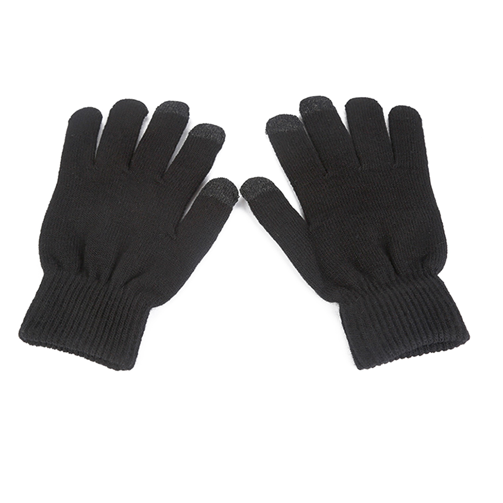 Men Women Touch Screen Gloves Winter Warm Fleece Lined Thermal Knitted Black