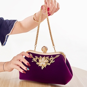 Image 2 - THINKTHENDO 女性パーティー結婚式クラッチ高級財布ラインストーンイブニングバッグチェーン財布