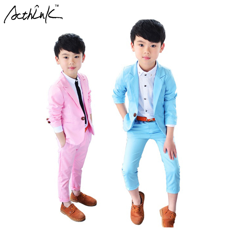 ActhInK New 2018 Boys Candy Color Casual Tuxedos Kids Spring Solid Formal Wedding Suit Brand Fashion Kids Blue & Pink Suit, C195 pink solid color off shoulder crop bodycon sweaters vests