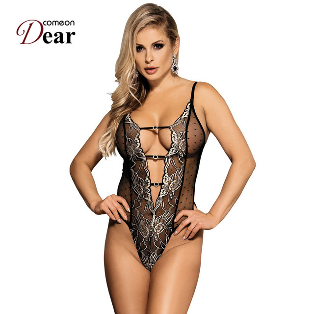 Comeondear Erotic Body Sexy Mujer Embroidery Halter Black Lace Bodysuit Lingerie One Piece Plus Size Sexy Teddy Lingerie RK80320