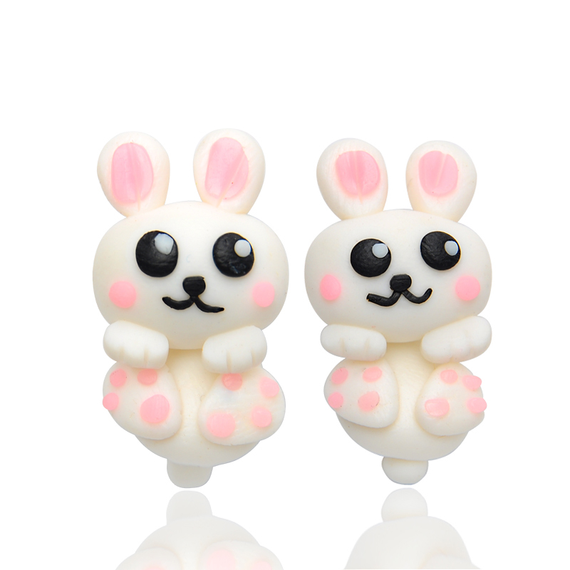 Cute Lovely Rabbit Stud Earrings For Women Girl 100% Handmade Polymer Clay Brincos Charm Fashion Jewelry