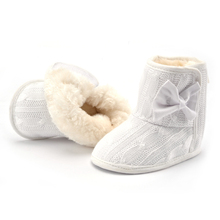 2017 Infant Winter Warm Knit Fleece Baby Shoes First Walkers Beautiful Bowknot Ankle Snow Boots For Baby Girl Boy