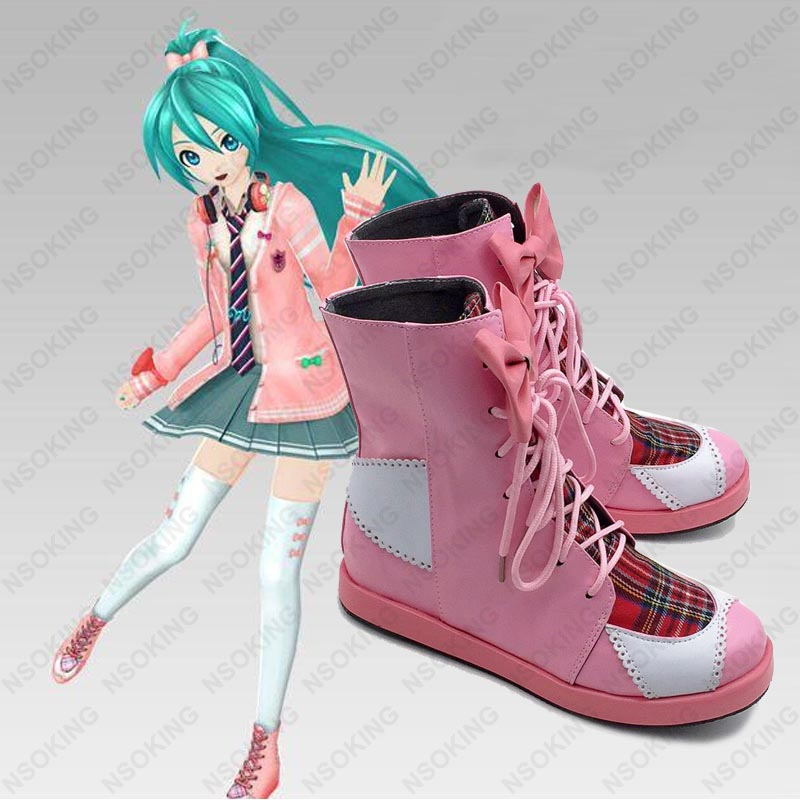 New Game Hatsune Miku Project DIVA F Cosplay Shoes Bowknot girl Anime Boots Tailor Made