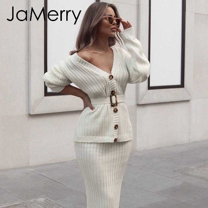 JaMerry Vintage knitted two piece set dress Elegant autumn winter women sweater dress suit Button sashes long sleeve skirt suit