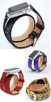 Genuine Leather Double Tour WatchBand For Apple WatchBand Double Loop Strap Replacement Sequins Wristband For Apple