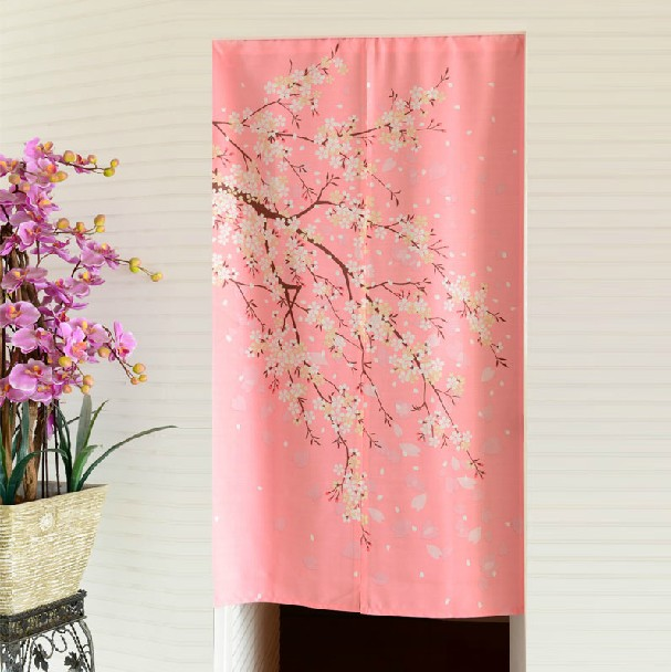 Japanese cherry blossom pink door curtain Feng Shui bedroom ...