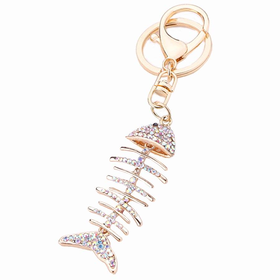 Chaveiro!Fashion Creative Crystal Fish Bone Keychain Car Key Chain Ring Holder llaveros Charm Women Bag Jewelry Gift R200