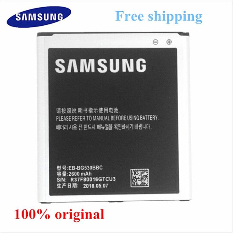 imágenes para Nueva 2600 mah batería 100% batería original samsung g5308 eb-bg530bbc g5309w g5306 j5 j5000 j5008 j5009 + número de pista
