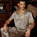 Brand Men 100% Silk Summer Sleepwear Short-sleeve 2 Piece Sets Classic Mulberry Silk Pajama Twinset L/XL/XXL Free Shipping