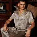 Los Hombres de la marca 100% de Seda ropa de Dormir de Verano de manga Corta 2 Unidades Establece Clásico Pijama De Seda de Morera Twinset L/XL/XXL Envío Libre