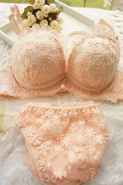 Summer thin lace young girl underwear pendant fresh small push up 3 breasted bra set