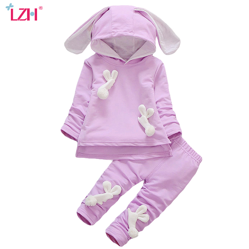 LZH Newborn Clothes 2017 Autumn Winter Baby Girls Clothes T-shirt+Pants 2pc Outfit Suit Baby Girls Set Infant Girl Clothing Sets 2016 hot selling baby kids girls one piece sleeveless heart dots bib playsuit jumpsuit t shirt pants outfit clothes 2 7y