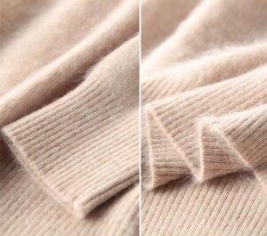 Image 5 - Pull à manches longues pour femmes, 100% vison, col roulé tricoté, ample, doux et chaud, couleur unie, hiver S XXL